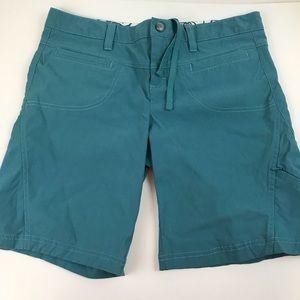 Athleta Size 10 Solid Blue Bermuda Shorts Nylon